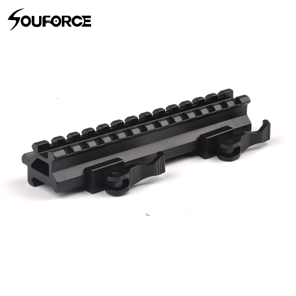 Tactical Riser Mount Quick Detach Double Rail 20mm Standard Picatinny Rail for Hunting Rifle Airsoft of Gun Accessories quick release aluminum alloy gun mount clips for 20mm rail black 2 pcs