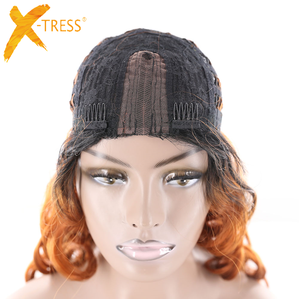 X-TRESS Synthetic U Lace Part Wig Natural Hairline Middle Part High Temperature Fiber Long Loose Wave Perruque Ombre Black Brown