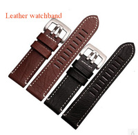high quality 23mm 26mm watchband leather watch strap with white thread Genuine Leather Watch Strap Bracelets