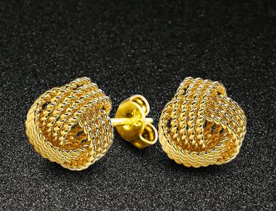 High Quality Wholesale Low Price Golden Plated Beautiful Fashion Jewelry Unique Nets knit Knot Ear Studs Earrings