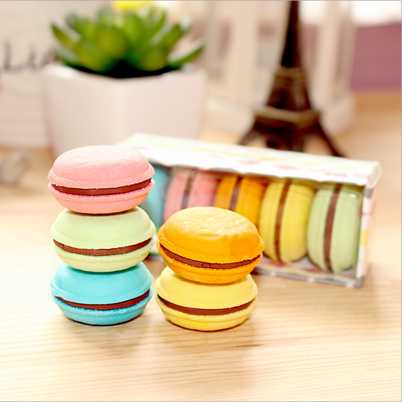 1X Creative Stationery Children Cute Maccaron Eraser Primary School Prizes School Kawaii School Supplies