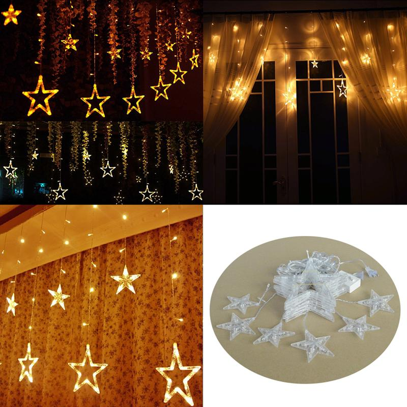 AC 110V 138-LED Romantic Fairy Star LED Curtain String Lighting For Holiday Wedding Garland Party Decoration
