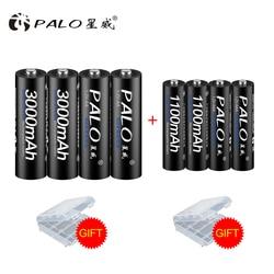 Набор аккумуляторов PALO 8 шт./партия включает 4 шт. AA 3000 мАч и 4 шт. AAA 1100 мАч Ni-MH AA/AAA аккумуляторные батареи для радио