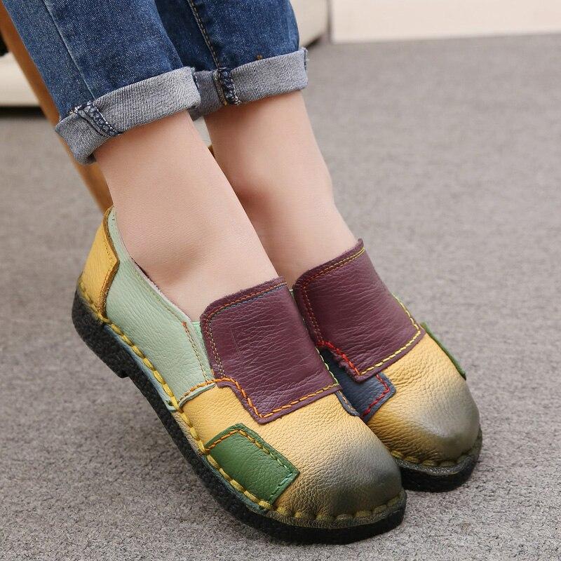 2017 Mode Frauen Schuhe Aus Echtem Leder Loafer Frauen Mischfarben Casual Schuhe Handgemachte Weiche Bequeme Schuhe Frauen Wohnungen