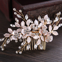 Rose Gold Color Pearl Crystal Flower Bridal   Hair   Comb Women Marriage Accessories Leaves   Wedding     Hair     Jewelry   SP0421