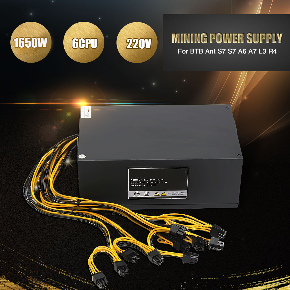 Leory Professional 1650W 220V 6 CPU Miner Mining Dedicated Power Supply PC Power Supplies For BTB Ant S5 S7 S9 A6 A7 R4 new max 1850w miner mining power supply 6 pin for antminer coin btb s9 s7 a7 a6 l3 r4 high quality computer power supply for btc