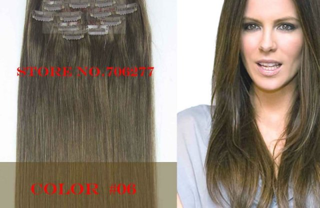 "Free shipping,120g, Hair extensions 7pcs set,18""-28"",color#06,full around head Natural hair clip in on extensions"