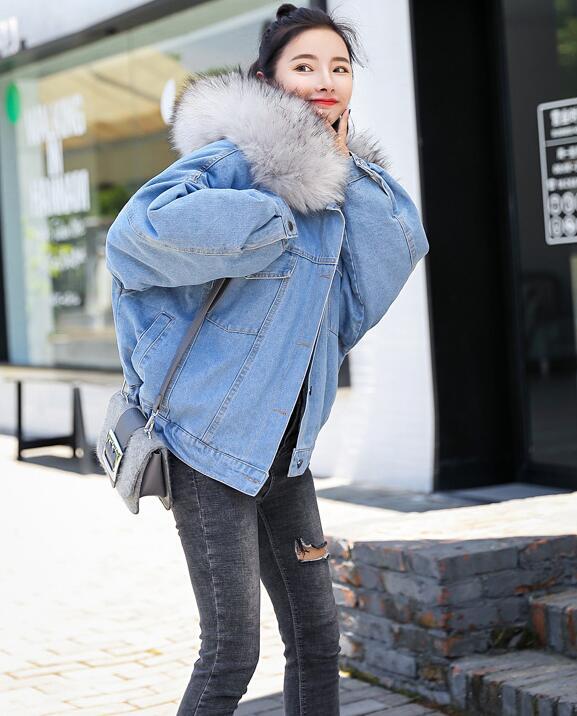 vent D'hiver Dames Capuchon Top Femelle Chaud Vestes Jeans Printemps Manteau Gris De Femmes Base rose Automne Bomber Coupe 2018 À blanc Nouveau Denim Grand ZEwq8a5xU