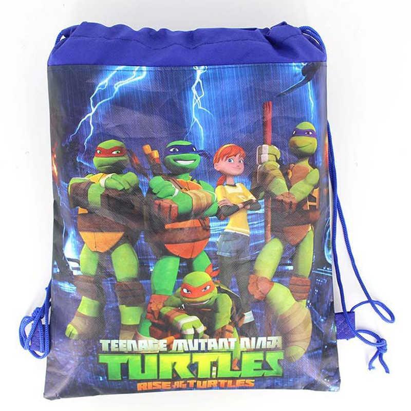 Детский душ нетканые ткани спрос среди детей ниндзя рюкзак черепаха Mochila украшения на вечеринку дня рождения Drawstring подарки сумки 34*27 см