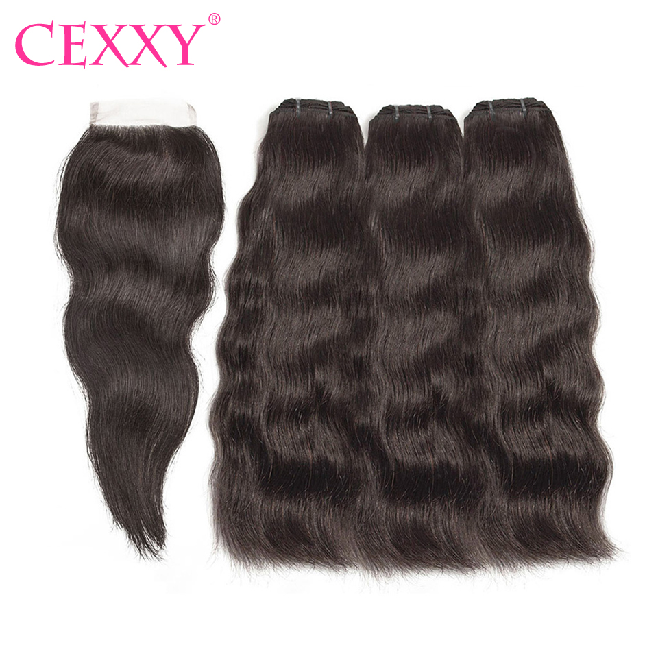CEXXY Natural Straight Hair Bundles With Closure Raw Indian Virgin Hair Weave Bundles with Closure Free