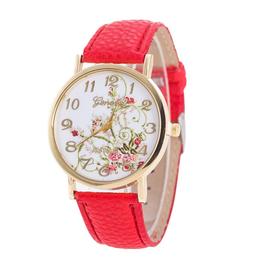 Newly Designed Simple Geneva Fashion Women Flowers Watches Sport Analog Quartz Wrist Watch Gift New Arrive Hot Dropship 620
