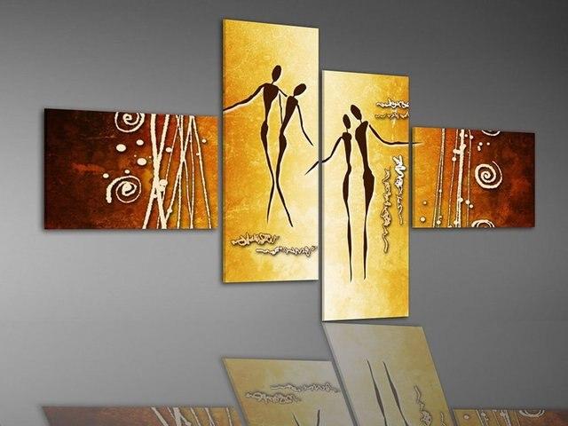 handpainted golden yellow lover dance pictures 4 piece modern ...