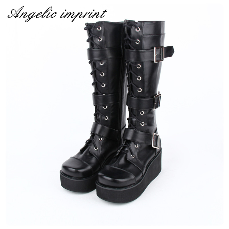 Japanese Harajuku Punk Goth Cosplay Wedge Boots Women Buckle Straps Lace Up High Boots