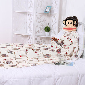 Image 3 - Dikke Fleece Gooi Deken Met Mouwen Volwassen Cozy Reizen Plaid Warm Pluche Winter Deken Voor Sofa Couette De Lit Adulte
