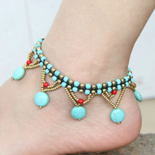 Thai ethnic jewelry wholesale turquoise beads braided copper bell anklet bracelet foot