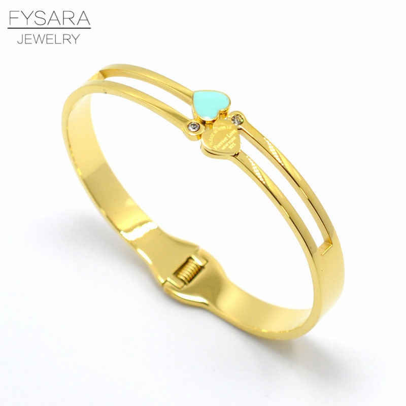FYSARA Letter Forever Love Double Heart Charms Bangle Jewelry Resin Green Bangles & Bracelets Women Couple Crystal Cuff Bangle