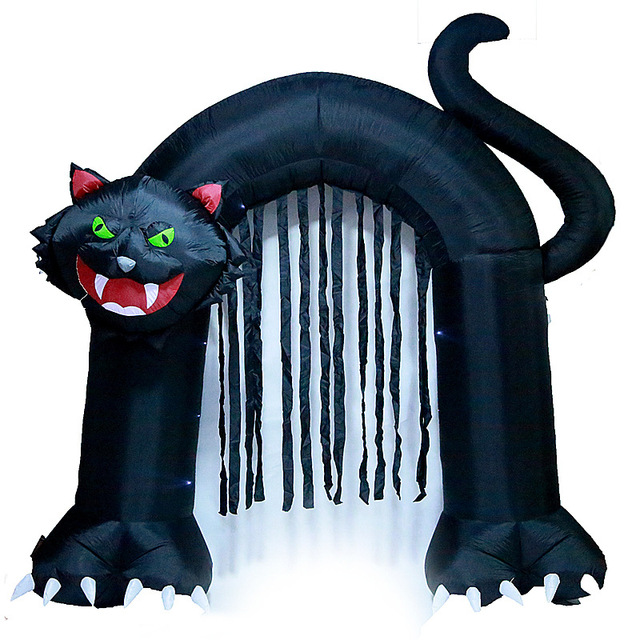 240cm Giant Black Cat Archway Led Light Inflatable Horror Toys Outdoor Yard Decoration Christmas New Year Party Prop