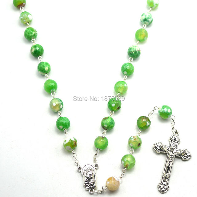 Beautiful green color natural stone catholic rosary with faceted round beads and pendant cross