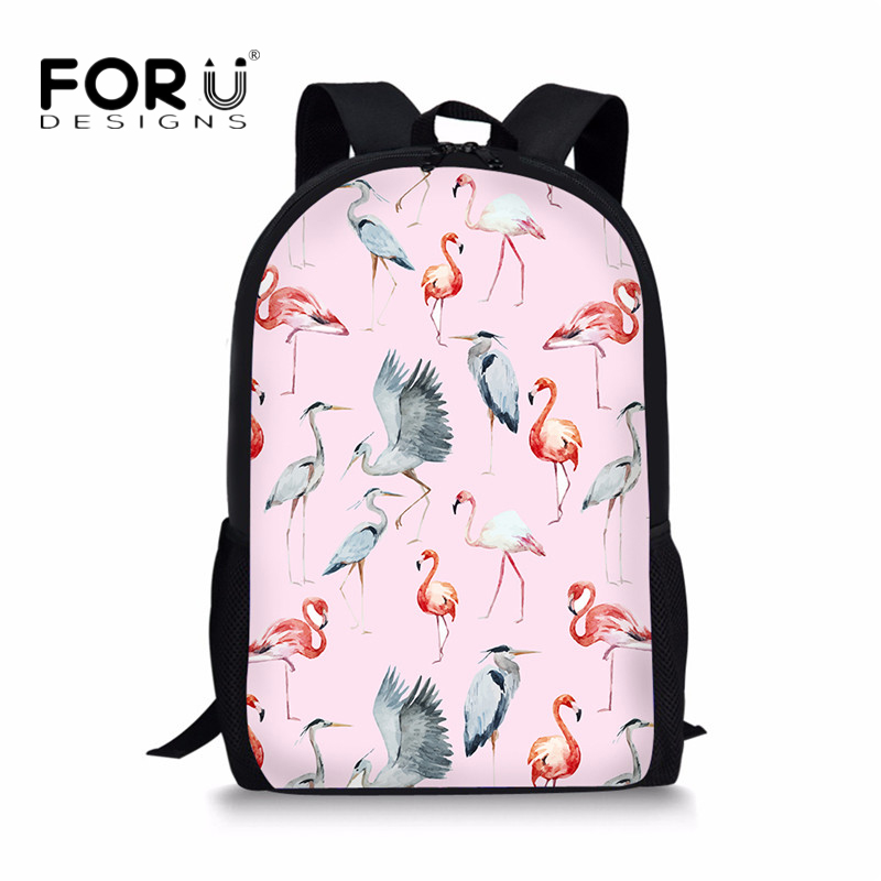 FORUDESIGNS Fashionable Animal Pink Flamingo School Bags for Teenager Girls Student Mochila Escolar Menino Casual Kids Backpacks