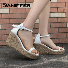 DANIFFER New Women Summer Platform Shoes Open Toe High Heels Wedge Shoes Woman Casual Weave Strap Sandals босоножки все цены