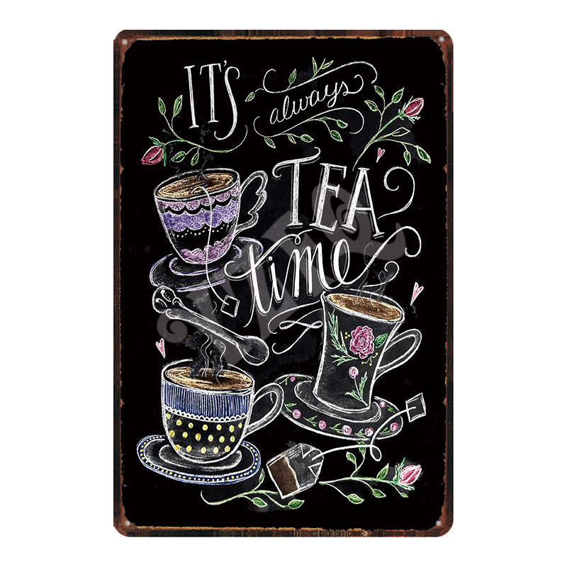 Tea Time Plaques Metal Vintage Food Tin Signs Shabby Chic Wall Cafe Kitchen Restaurant  Retro Home Craft Decor DU-2124