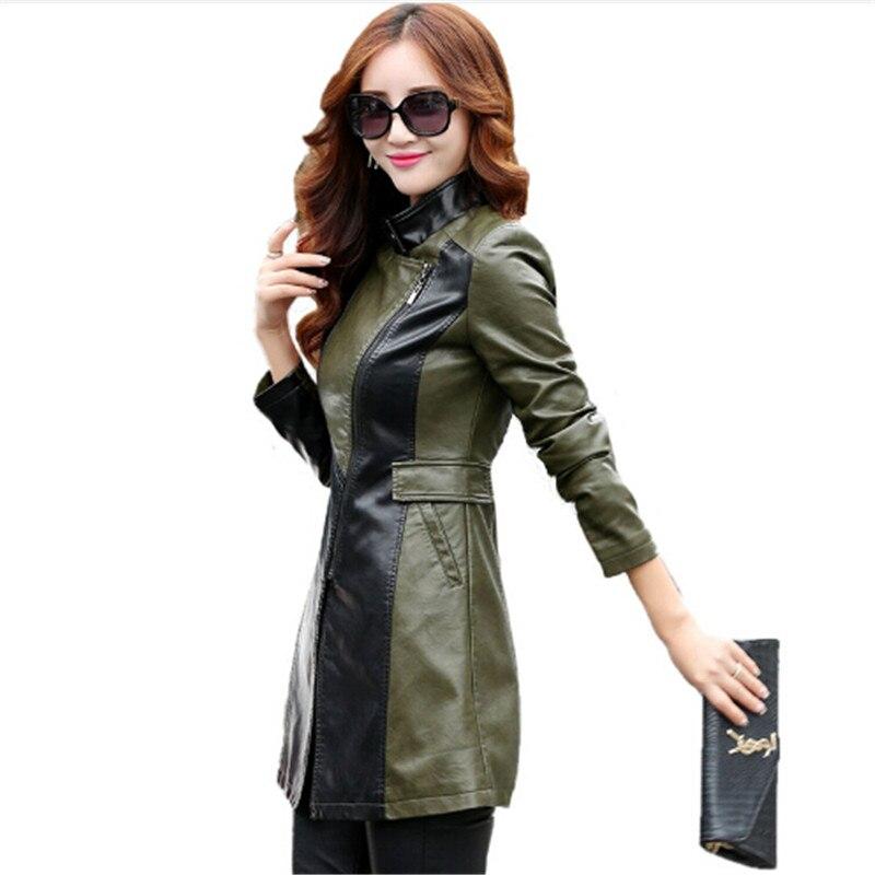 Плюс Размеры 5XL кожаная куртка Для женщин Топ Мода Тонкий дам искусственной PU верхняя одежда длинные Для женщин кожа Тренч женский ...