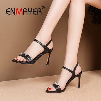 ENMAYER 2019  Genuine Leather  Basic  Party  High Heels Sandals Women  Buckle Strap Summer Fashion Size 34-39 LY2047