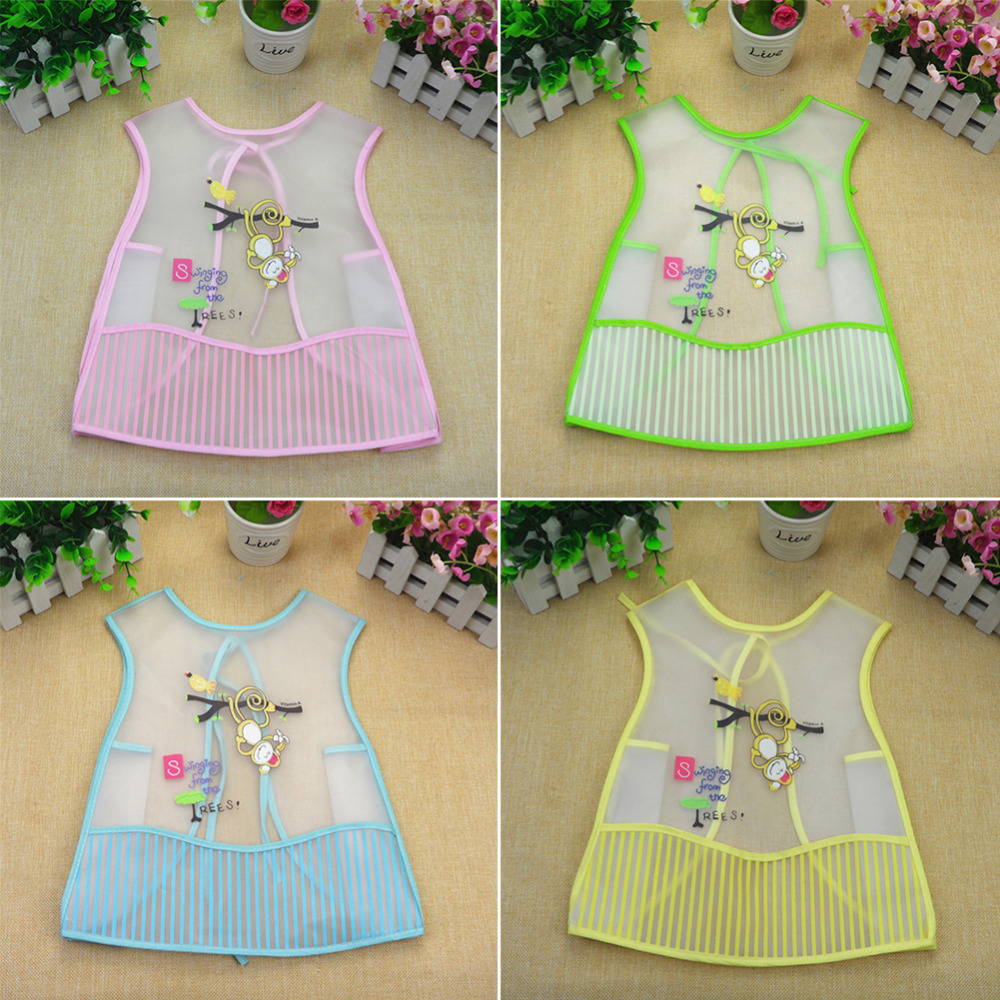 Baby Vest-type No-wash Sleeved Feeding Bib Half Sheer Overclothes Cartoon Baby Clothing Baby Bibs Waterproof