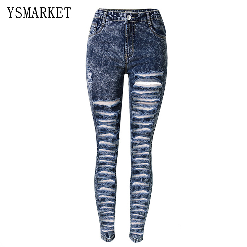ФОТО Plus Size Distressed Ripped Hole Jeans Women Pants Snow Navy Denim Pencil Jeans Fashion High Waist Skinny Casual Trousers E1122