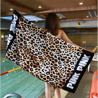 XC USHIO 75 145cm Pink Soft Cotton Beach Towel Travel Swimming Bath Towel Yoga Office Sofa