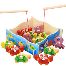 Funny 3D Wooden Fishing Toy Set Toddler Game Crab Turtle Octopus Fish Kids Gift for Boy Gril Brick