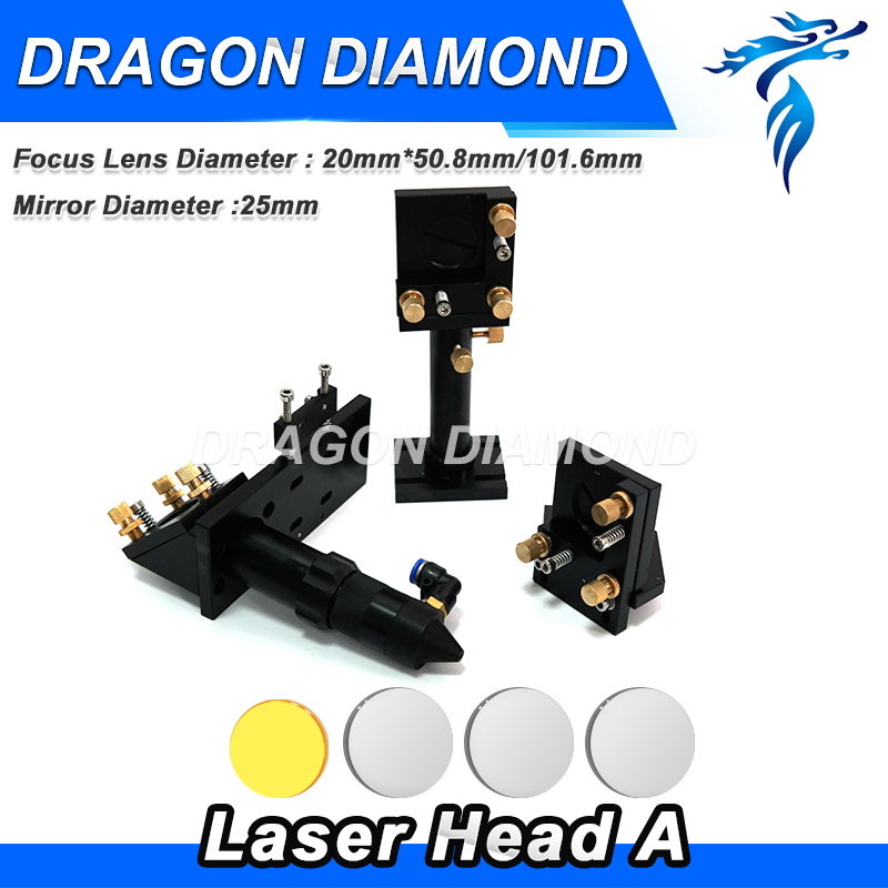 CO2 Laser Head & Reflective Mirror 25mm & Focus Focal Lens 20mm Integrative Mounts Set for Laser Engraving and Cutting