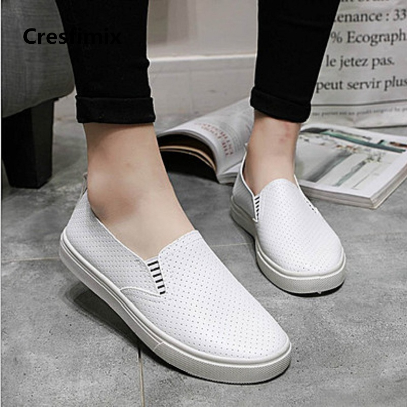 Cresfimix zapatos de mujer women fashion white breathable slip on flat shoes lady pu leather summer comfortable loafers a2015 cresfimix women casual pu leather slip on flat shoes lady casual white flats female soft and comfortable loafers zapatos