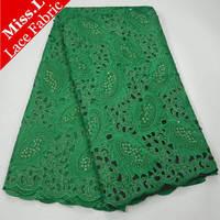 Miss. L Beatuiful Зеленый Африканский хлопок кружевной ткани с бисером швейцарская вуаль кружевной ткани с камнями 5 метров для африканских платье