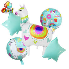 5pcs Llama Foil Balloons baby Birthday Party decoration Kids Cartoon Inflatable Toys Round Alpaca Helium Balloon Party Supplies(China)