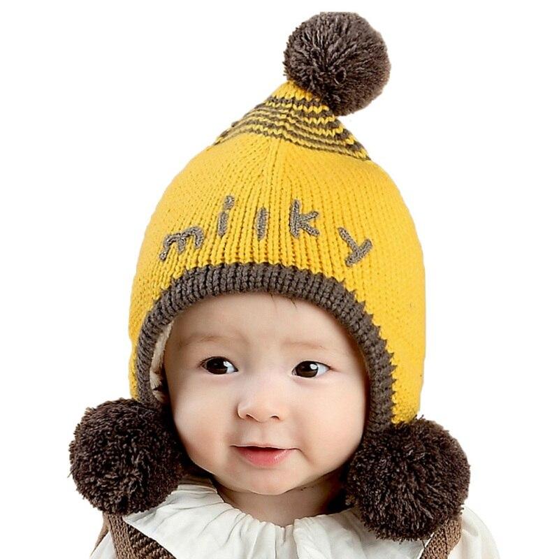Baby Hat Kids Winter Hats With Fur Balls Newborn Cap Soft Beanie Bonnet For Boys Girls Knitted Cap