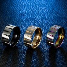 Новое поступление, кольцо из нержавеющей стали для мужчин, конические канавки, ширина 9 мм, матовое титановое Радужное кольцо, многоцветное черное Золотое кольцо