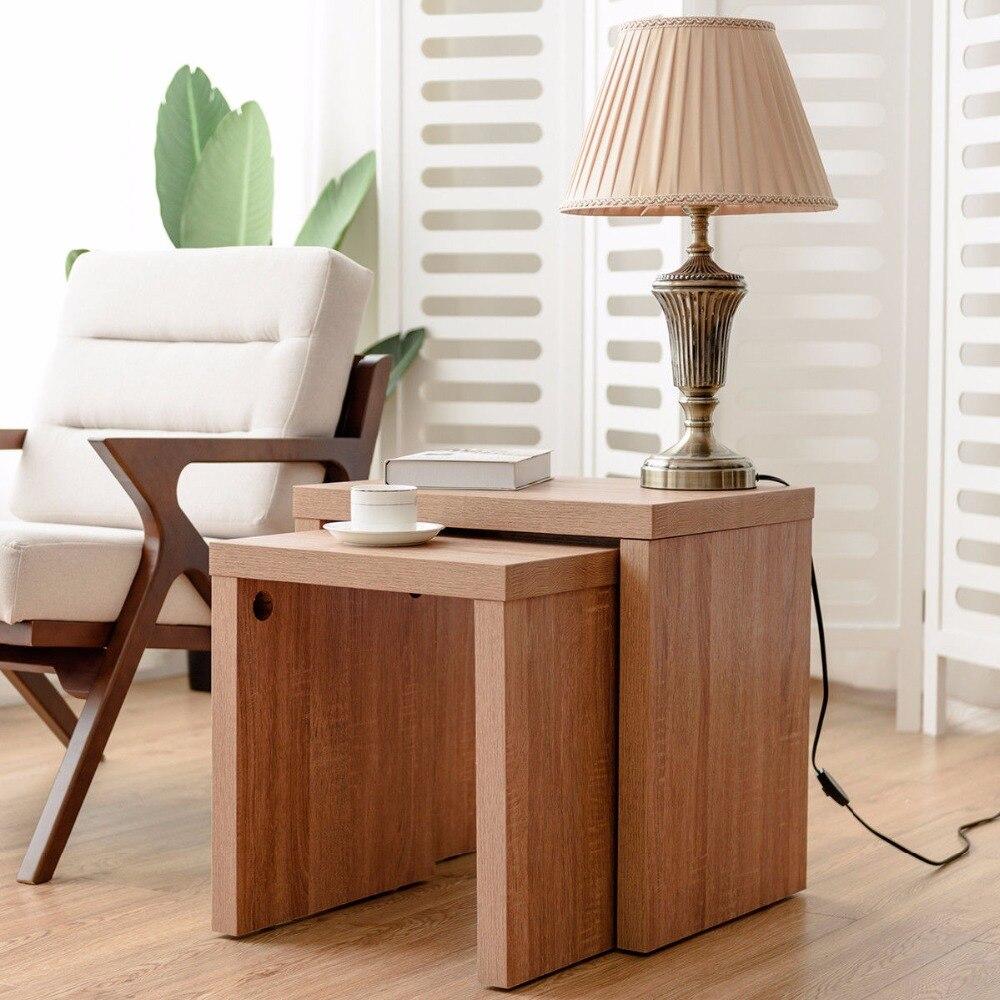 Giantex lot de 2 gigognes Table basse Table d'appoint bois couleur salon meubles HW58203