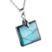 Natural Blue Light Labradorite Gemstone Women Men Pendant Rectangle 18x17x6mm Fashion Crystal Moonstone Jewelry AAAA