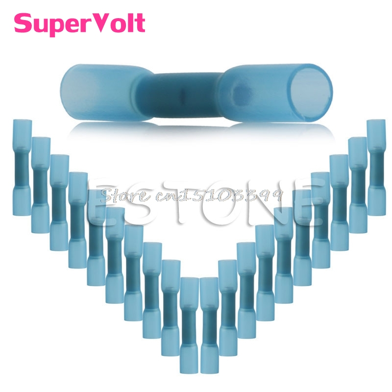 20Pcs 16-14AWG Heat Shrink Butt Wire Electric Crimp Terminal Connector New #G205M# Best Quality 500 pcs blue heat shrink 16 14 ga butt wire connectors ring terminal free shiping