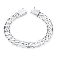 Vintage Accessories Pulseira Feminina 925 Sterling Silver Jewelry Bracelets For Women Silver Plated Pulseira Masculina QA0629