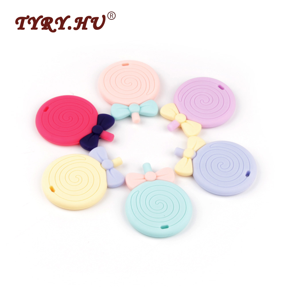 TYRY.HU 3Pcs/Lot Lollipop Silicone Teethers BPA Free Baby Teething Beads Food Grade Baby Teether Necklace Charm Nursing Mordedor