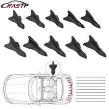 10pcs Car Shark Fin Kit Diffuser Spoiler Black Vortex Generator for Windscreen Roof Bumper RS-LKT023