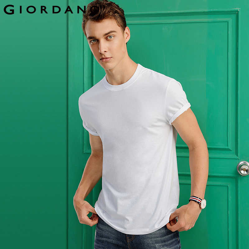 a4a1607fd1ab Giordano Men Tee Ribbed Crewncek Short Sleeve T-shirt 2018 Men Fashion  Clothing Solid Colors