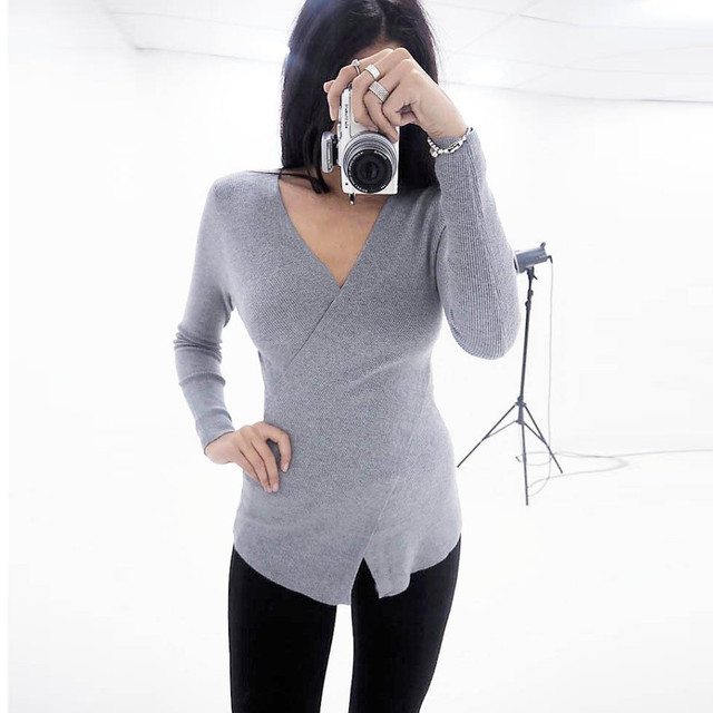 80c7d0f2e9a9c5 Women Sexy Solid V-Neck Long Sleeve Cross Slim Shirt Tops Blouse Womens Top  And