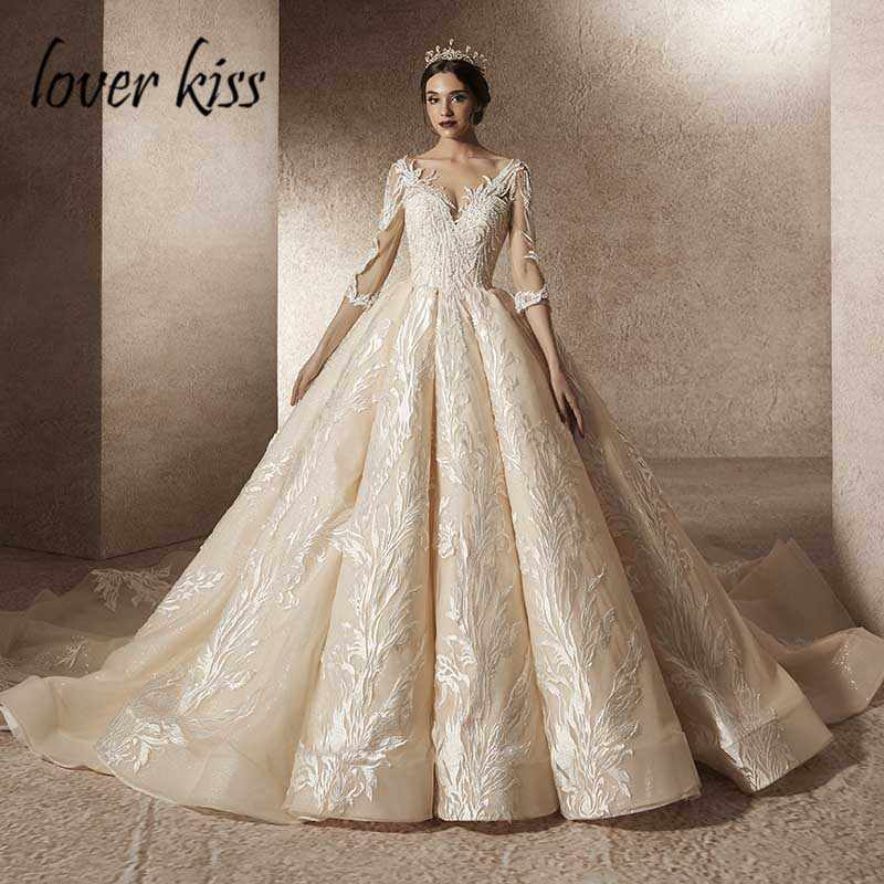 Lover Kiss Vestido De Noiva 2019 Sparkly Luxury 3/4 Sleeves Wedding Dresses Turkey Lace Bride Dress Arab Real robe de mariage