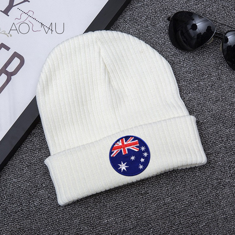 AOMU Brand Women Men Hat Skullies Beanies Cotton Embroidered Knitted Hats Autumn Winter Casual Velvet Girls Band Patches Hats skullies