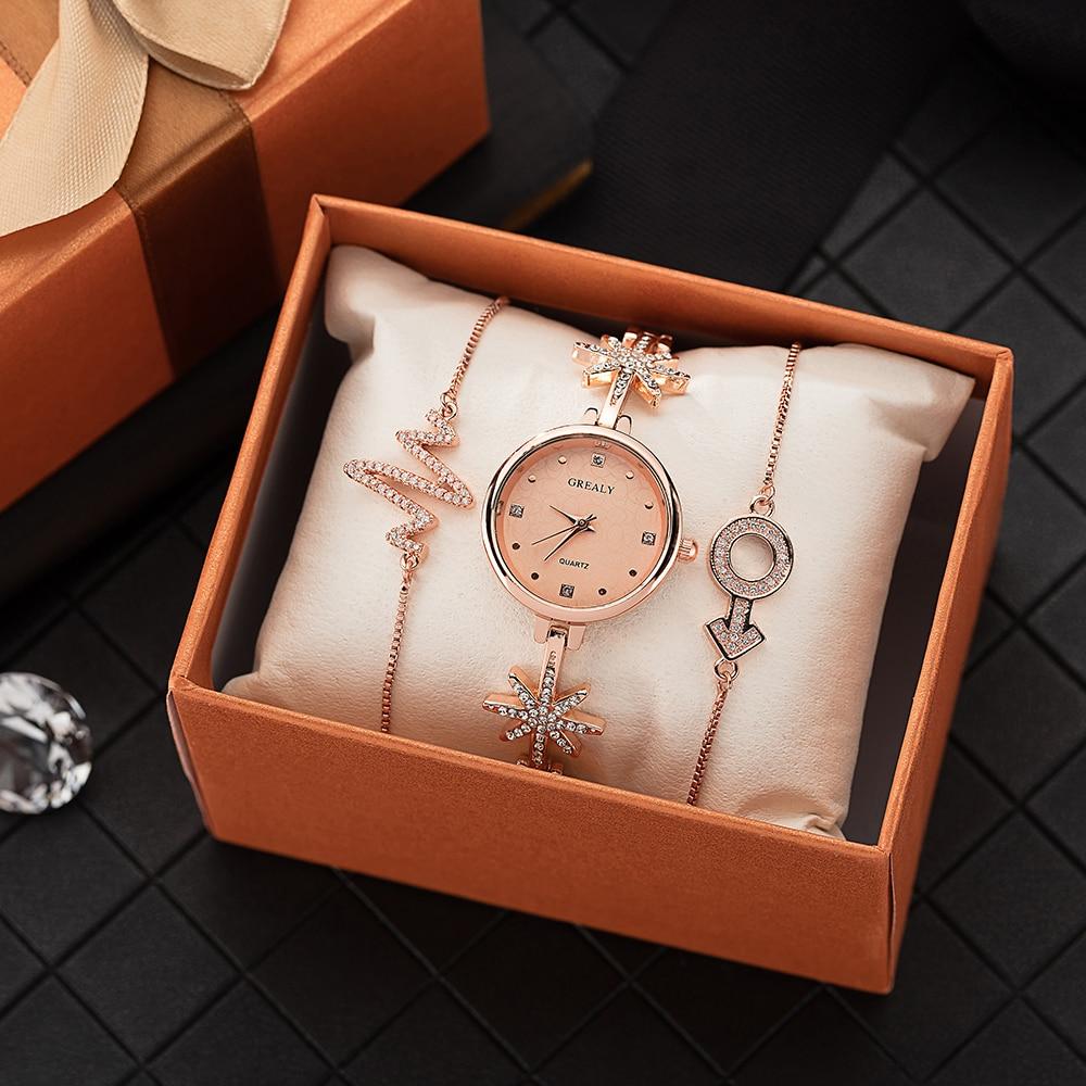 ✔  Топ часы женщина подарочный набор модные наручные часы с комплектом ювелирных браслетов сплава звезд ①