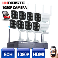 8CH IR HD 홈 보안 무선 NVR IP 카메라 시스템 1080 마력 CCTV 야외