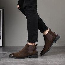 2019 vintage erkekler patik Hakiki Deri Chelsea Çizmeler süet bileğe kadar bot erkek Moda Bahar Sonbahar Çizmeler bağcıksız ayakkabı zapatos